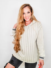 Easel - Athletic Stripe Hooded Pullover Sweater