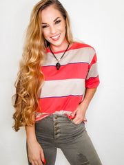 Multi Color Block Stripe Short Sleeve Crew Neck Top