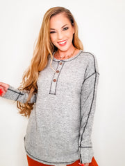 Easel - Long Sleeve Brushed Hacci Knit Henly Top