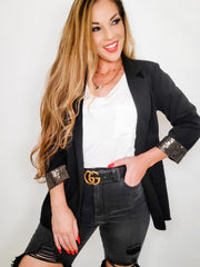 Black Blazer With Gold Sequins Detail (S-3XL)