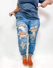 Judy Blue - Matrix Destroyed Boyfriend Jeans (0-24W)