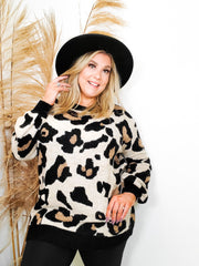 Leopard Print Pocket Pullover Sweater  (1XL-3XL)