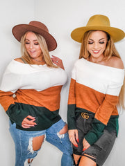 Color Block Off Shoulder Sweater (S-3XL)