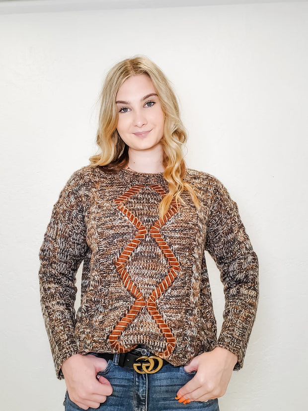 Long Sleeve Sweater With Stitched Diamond Shape Ribbon