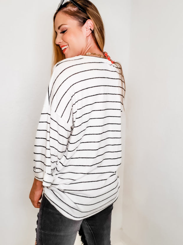Striped Top with Half Sleeves Dropped Shoulders  and Left Side Chest Pocket
