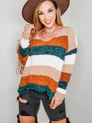 Color Block Pullover Striped Knit Sweater (S-3XL)