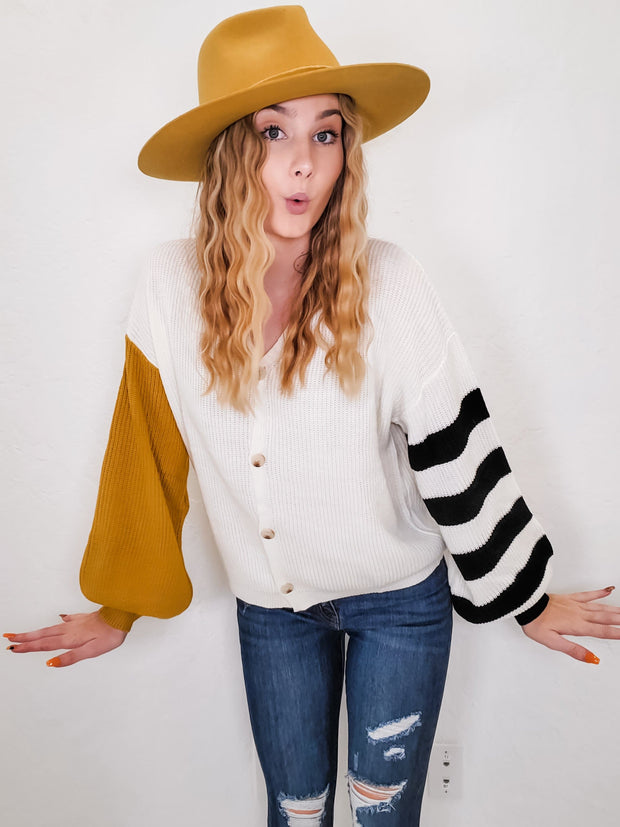 Stripe and Solid Button Down Cardigan (S-3XL)