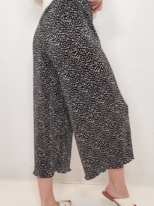 Ditzy Dot Printed Pleated Wide Pants (S-3XL)
