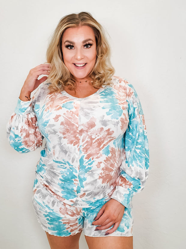 Tie-Dye Printed Soft Knit Lounge Wear Sets (S-3XL)