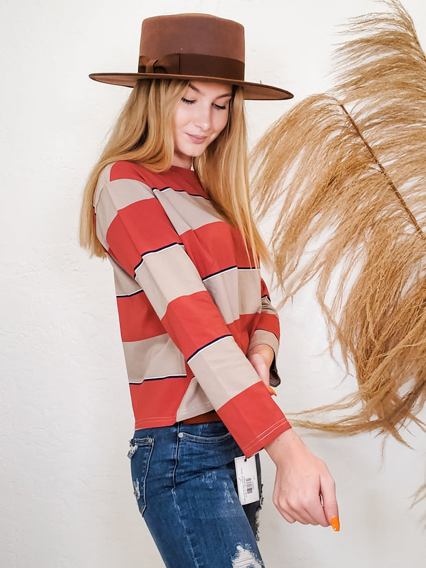 Multi Color Block Stripe Long Sleeve Top