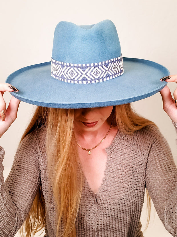 Flicked Edge Wool Panama Hat with Tribal Band, Adjustable Inner Drawstring for Sizing and Lining