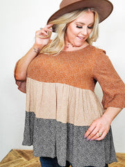 Bell Sleeved Round Neck Blouse (S-3XL)