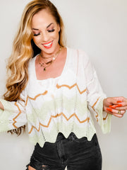 Pol - 3/4 Length Sleeve Zig Zag Top Featuring Button Down Closure