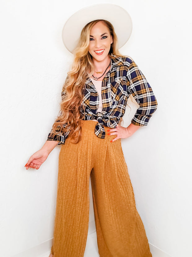 Wide Leg Solid Ribbed Palazzo Pants