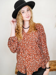Leopard Print Bubble Sleeve Top