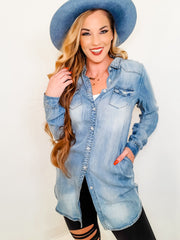 Long Sleeve Denim Tunic Blouse (S-3XL)