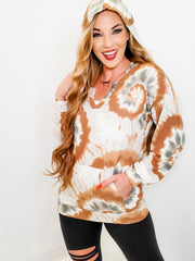 Circular Tie Dye Print Terry Hoodie Sweater with Kangaroo Pocket