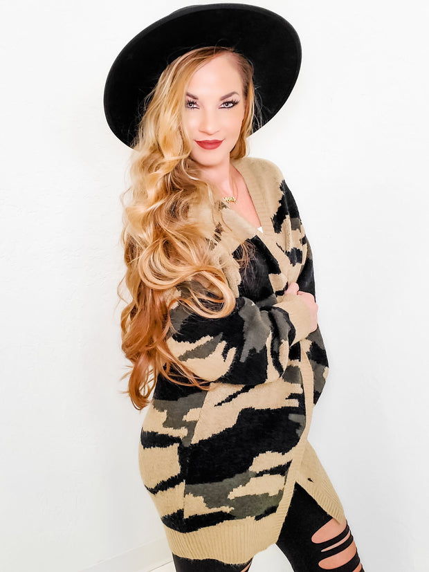 Long Sleeve Camouflage Jacquard Knit Cardigan (S-3XL)