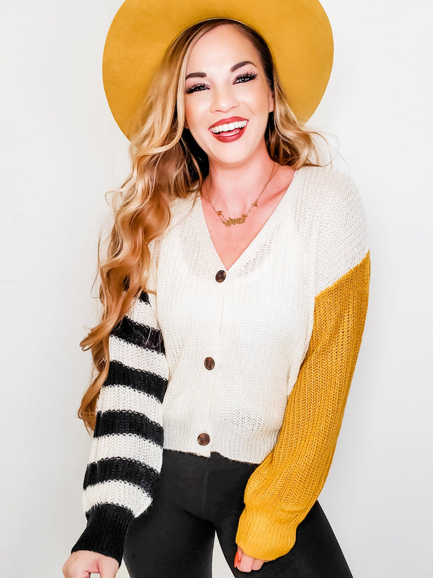 Color Block Stripe Mix Crop Sweater Cardigan