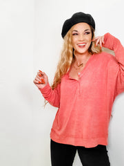 Pol - Relaxed Fit Long Sleeve Top with Half Button Closure on Front and Side Slit (S-3XL)