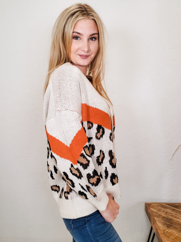 Animal Print Long Sleeves Button Down Cardigan (S-3XL)