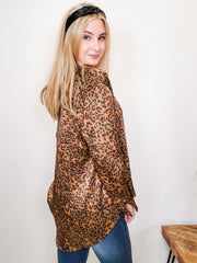 Pol - Leopard Print Long Sleeve Blouse