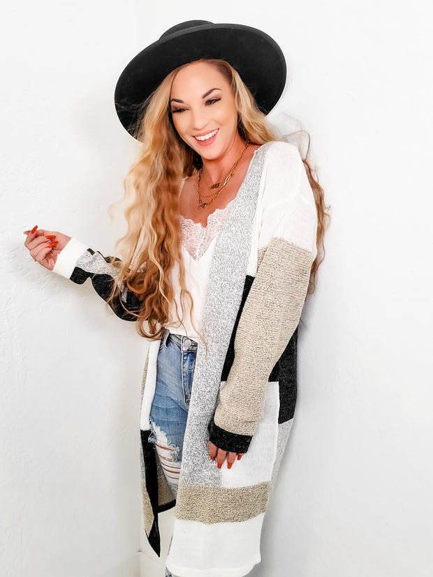 Color Block Long Sleeve Cardigan (S-3XL)