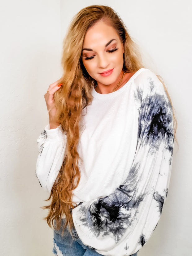 Tie-Dye Bubble Sleeve Waffle Knit Top