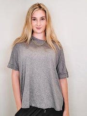Easel - Short Sleeve Rayon Span Loose Fit Knit Top