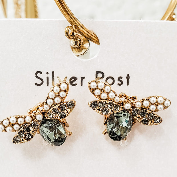 Small Crystal Bee Earrings