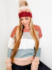 Long Sleeve Color Block Sweater (S-3XL)