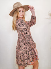 Long Sleeve Leopard Dress With Embroidered Detail(S-3XL)