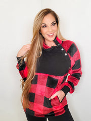 Long Sleeve Checkered Print Knit Sweater (S-3XL)