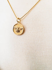 Necklace with Gold Plated Bee Pendant