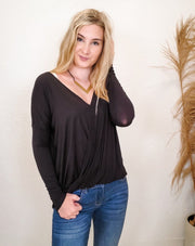 Surplice Front V-Neck Long Sleeve Top