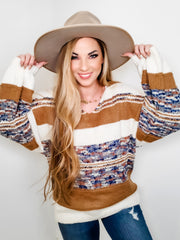 Color Block Round Neck Loose Sweater (S-3XL)