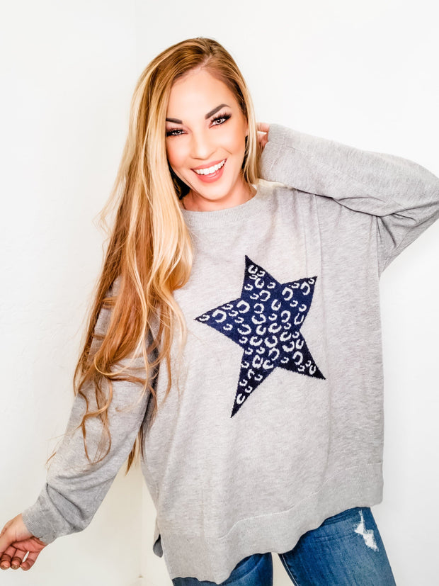 Easel - Long Sleeve Star Patterned Knit Pullover Sweater