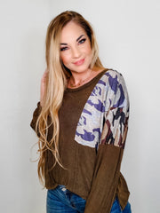 Pol - Long Sleeve Top with Camouflaged Patch Detail