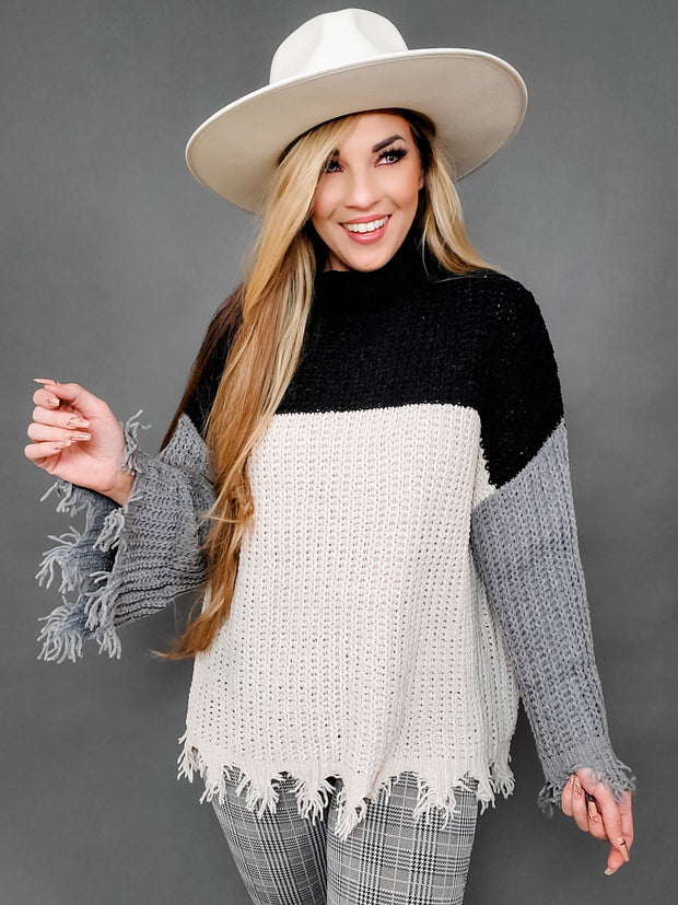 Pol - Color Block Turtle Neck Sweater (S-2XL)