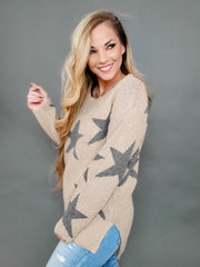 Star Print Long Sleeve Round Neck Sweater (S-3XL)