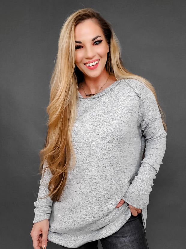 Easel - Long Sleeve Brushed Hacci Knit Loose Fit Tunic Top