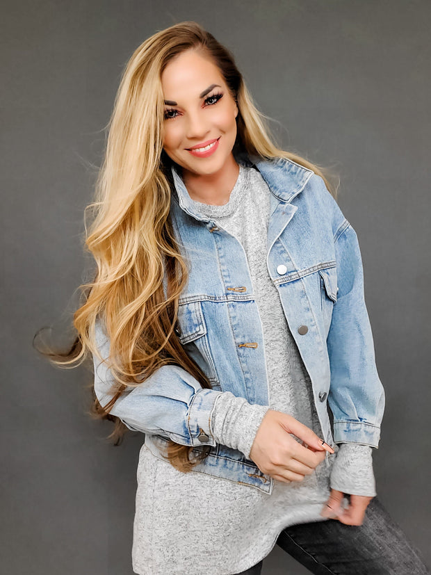 Dolman Sleeves Denim Jacket with Pleating Details (S-3XL)
