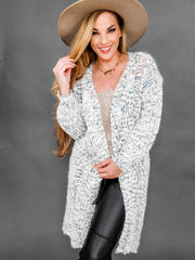 Pol - 3 Tone Mohair Knitted Cardigan Featuring Distressed Cut-Out Detail on Body with Slight Balloon Detail