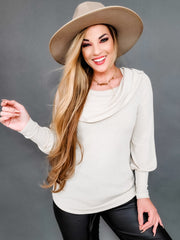 Slight Off Shoulder Knit Top with Balloon Sleeves and Flowy Bodice (S-3XL)
