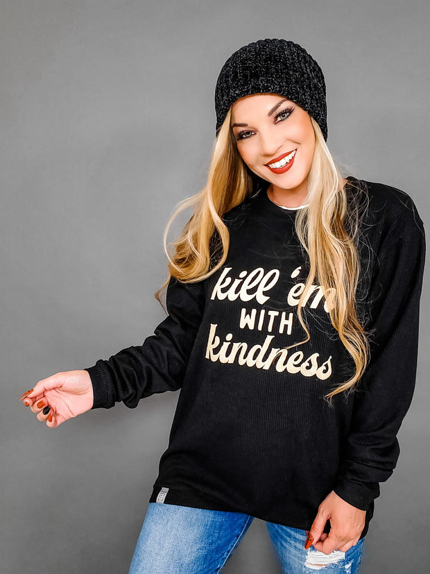 Kill 'Em With Kindness Ribbed Graphic Sweater (S-3XL)