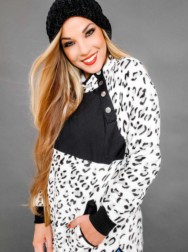 Long Sleeve Leopard Print Fleece Sweater (S-3XL)