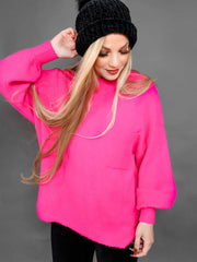 Oversized Bubble Sleeve Pocket Pullover Sweater