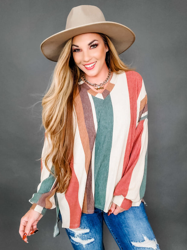 Ribbed Striped V-Neck Top