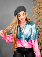 Solid and Tie Dye Relaxed Fit V-Neck Long Sleeve Top with Overlay Front (S-3XL)