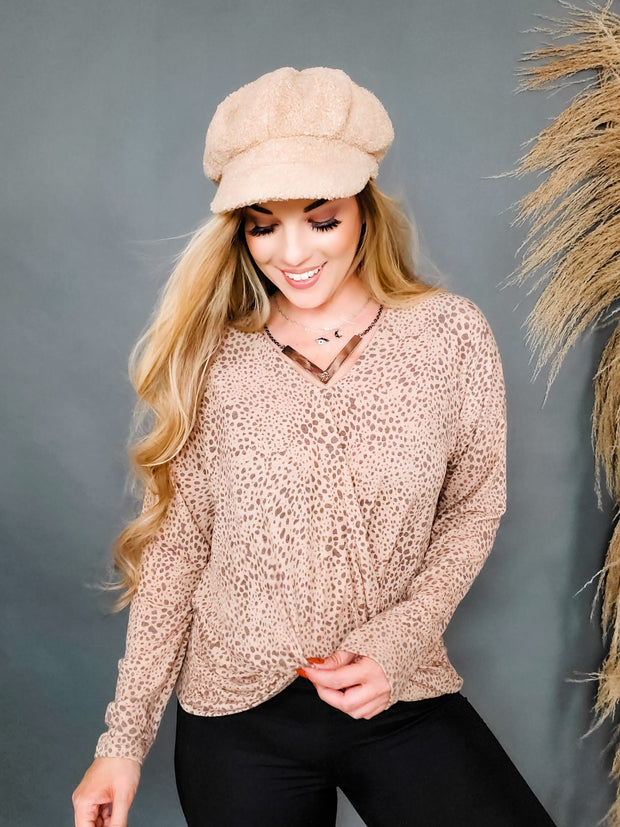 Long Sleeve Animal Print V-Neck Top Featuring Gathered Trim Detail and Loose Fit